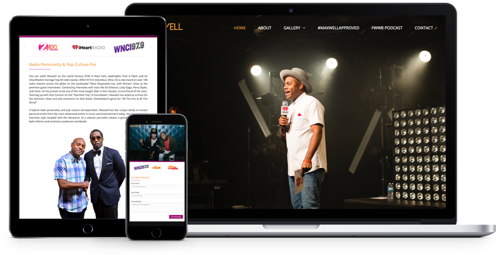 responsive website design for radio personality, Maxwell