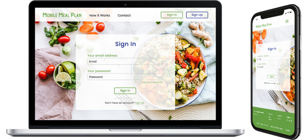 responsive website design for a meal plan company