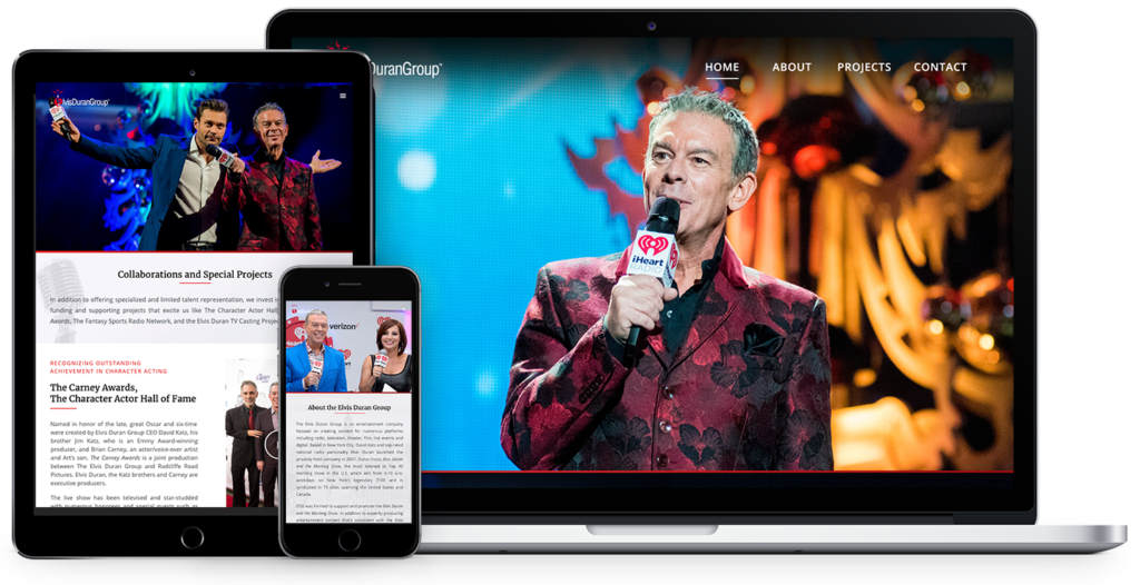 responsive website design for Elvis Duran Group