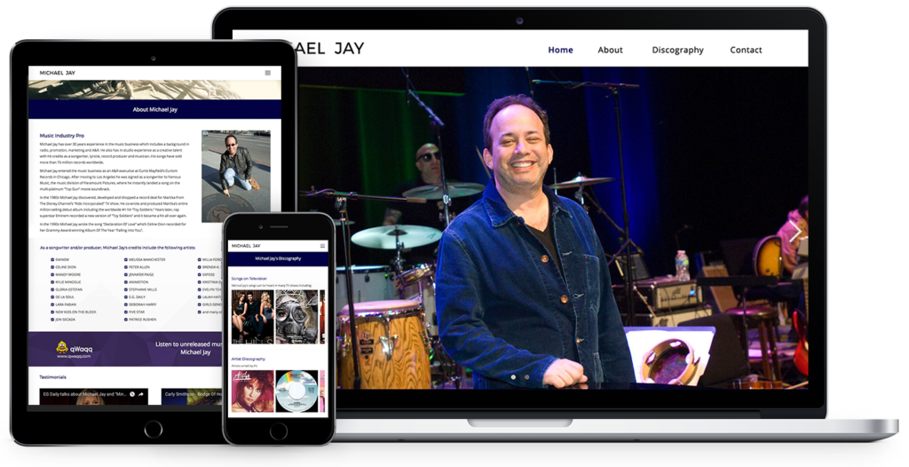 responsive website design for songwriter, Michael Jay